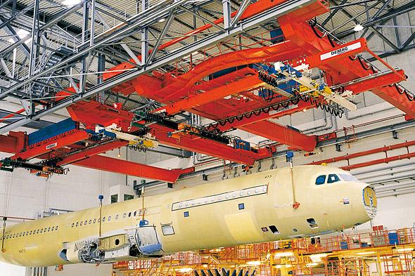 Processkran för flygindustrin som lyfter ett flygplan