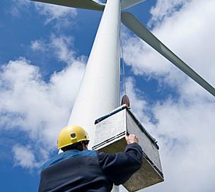 Kättingtelfer DC-Wind i arbete vid vindkraftverk